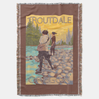 Women Fly Fishing - Troutdale, Oregon Throw