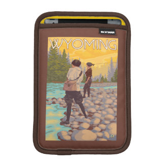 Women Fly Fishing - Wyoming iPad Mini Sleeve