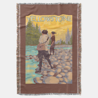 Women Fly Fishing - Yellowstone National Park Throw Blanket