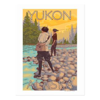 Women Fly Fishing - Yukon, Alaska Postcard