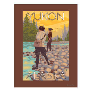 Women Fly Fishing - Yukon, Alaska Postcard