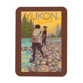 Women Fly Fishing - Yukon, Alaska Rectangular Magnet