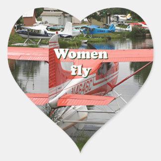 Women fly: float plane 23, Alaska Heart Sticker