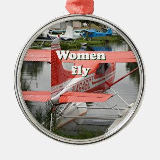 Women fly: float plane 23, Alaska Metal Ornament