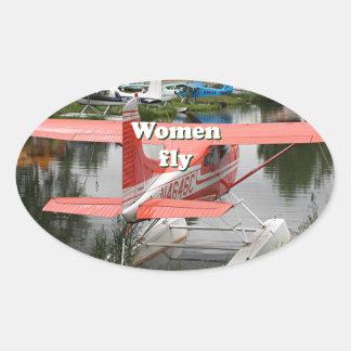 Women fly: float plane 23, Alaska Oval Sticker