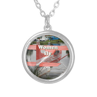 Women fly: float plane 23, Alaska Silver Plated Necklace