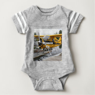 Women fly: float plane, Lake Hood, Alaska Baby Bodysuit