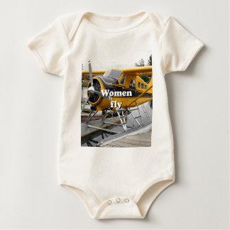 Women fly: float plane, Lake Hood, Alaska Baby Bodysuit