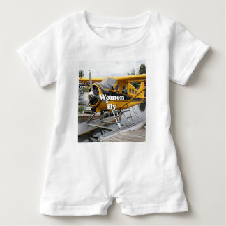Women fly: float plane, Lake Hood, Alaska Baby Romper