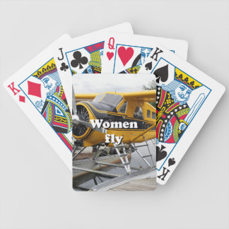 Women fly: float plane, Lake Hood, Alaska Bicycle Playing Cards