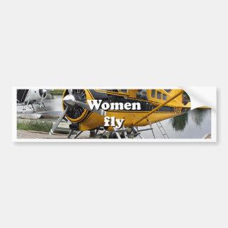 Women fly: float plane, Lake Hood, Alaska Bumper Sticker