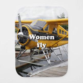 Women fly: float plane, Lake Hood, Alaska Burp Cloth