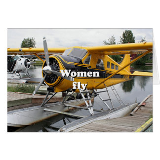 Women fly: float plane, Lake Hood, Alaska Card