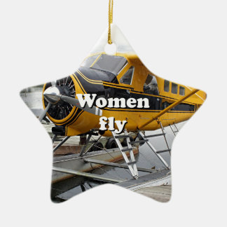 Women fly: float plane, Lake Hood, Alaska Ceramic Ornament