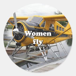Women fly: float plane, Lake Hood, Alaska Classic Round Sticker