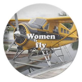 Women fly: float plane, Lake Hood, Alaska Dinner Plates
