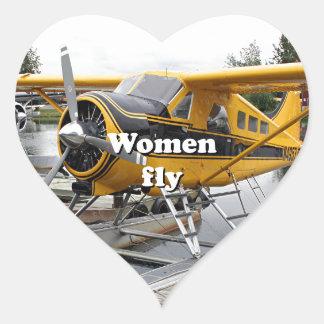 Women fly: float plane, Lake Hood, Alaska Heart Sticker