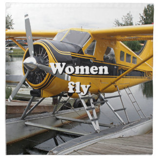 Women fly: float plane, Lake Hood, Alaska Napkin