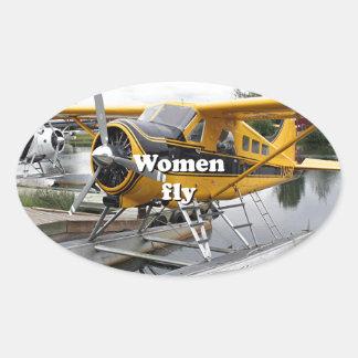 Women fly: float plane, Lake Hood, Alaska Oval Sticker