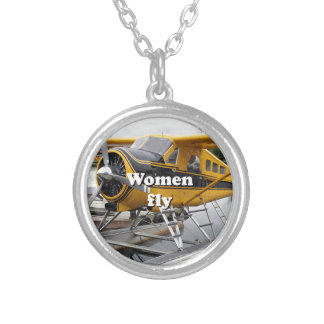 Women fly: float plane, Lake Hood, Alaska Silver Plated Necklace