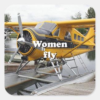 Women fly: float plane, Lake Hood, Alaska Square Sticker