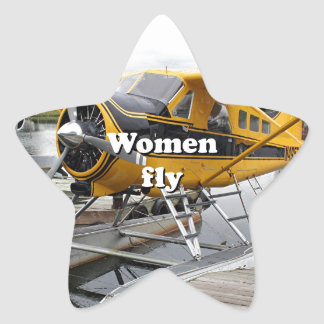 Women fly: float plane, Lake Hood, Alaska Star Sticker
