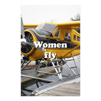 Women fly: float plane, Lake Hood, Alaska Stationery