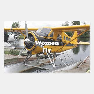 Women fly: float plane, Lake Hood, Alaska Sticker