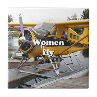 Women fly: float plane, Lake Hood, Alaska Tile
