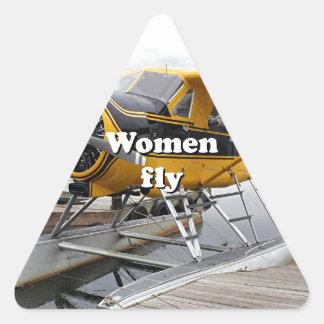 Women fly: float plane, Lake Hood, Alaska Triangle Sticker