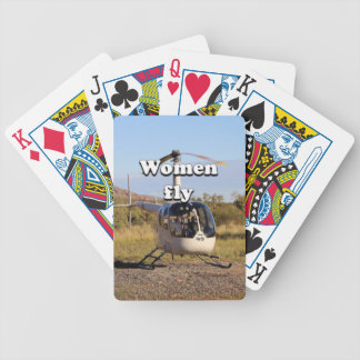 Women fly: Helicopter (white) 2 Bicycle Playing Cards