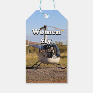 Women fly: Helicopter (white) 2 Gift Tags