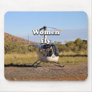 Women fly: Helicopter (white) 2 Mouse Pad