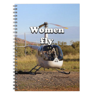 Women fly: Helicopter (white) 2 Notebooks