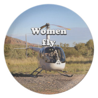Women fly: Helicopter (white) 2 Plate