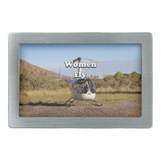 Women fly: Helicopter (white) 2 Rectangular Belt Buckle