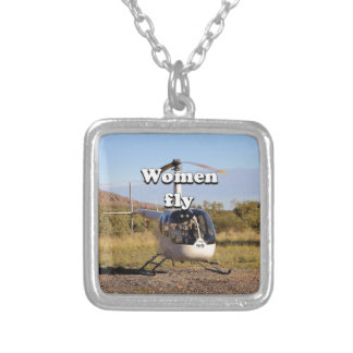Women fly: Helicopter (white) 2 Silver Plated Necklace