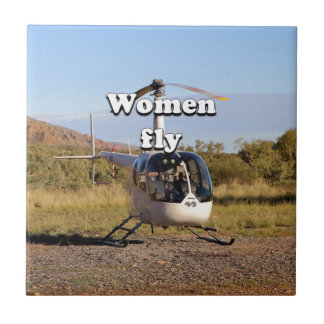 Women fly: Helicopter (white) 2 Tile