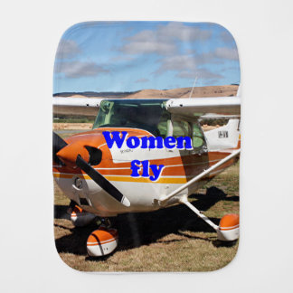 Women fly: high wing aircraft burp cloth
