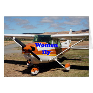 Women fly: high wing aircraft card
