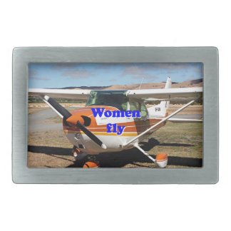 Women fly: high wing aircraft rectangular belt buckles