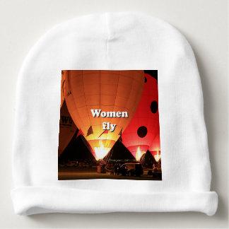 Women fly: hot air balloon 2 baby beanie