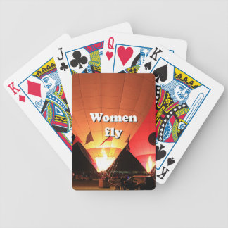 Women fly: hot air balloon 2 bicycle playing cards