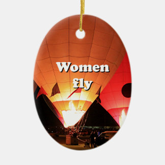 Women fly: hot air balloon 2 ceramic ornament