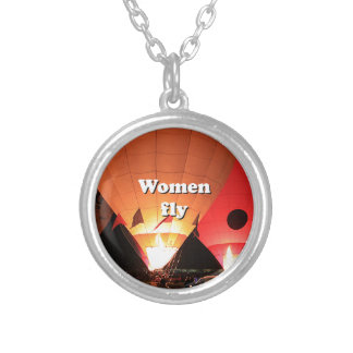 Women fly: hot air balloon 2 silver plated necklace