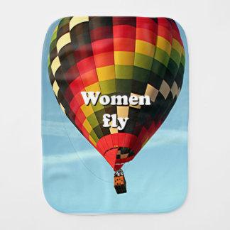 Women fly: hot air balloon burp cloths