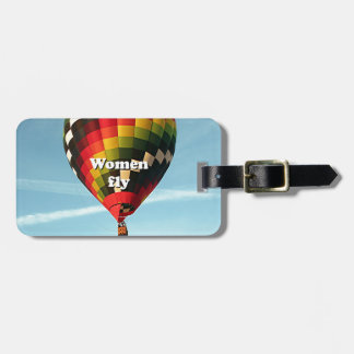 Women fly: hot air balloon luggage tag