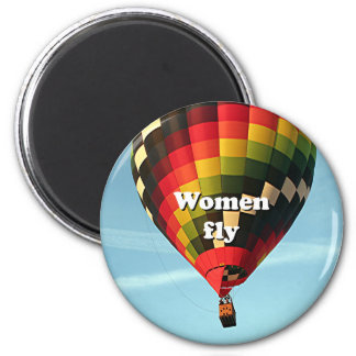 Women fly: hot air balloon magnet
