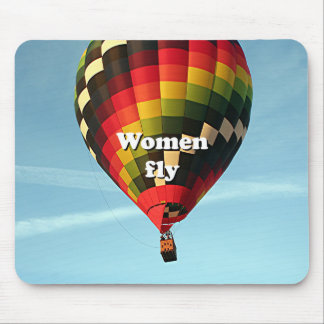 Women fly: hot air balloon mouse pad
