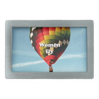 Women fly: hot air balloon rectangular belt buckles